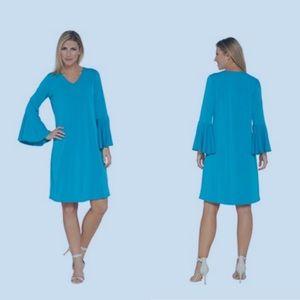 Susan Graver Liquid Knit Bell Sleeve Dress Size S